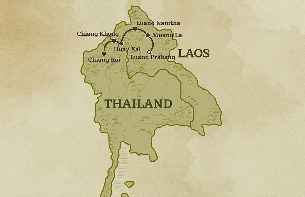 Map of Laos and Thailand for the Adventures in Northern Laos and Thailand tour