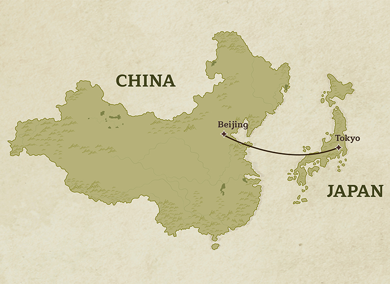 Country Tour Map of China and Japan for Trails Of Indochina's Ancient Culture & History Tour traveling from Beijing to Tokyo