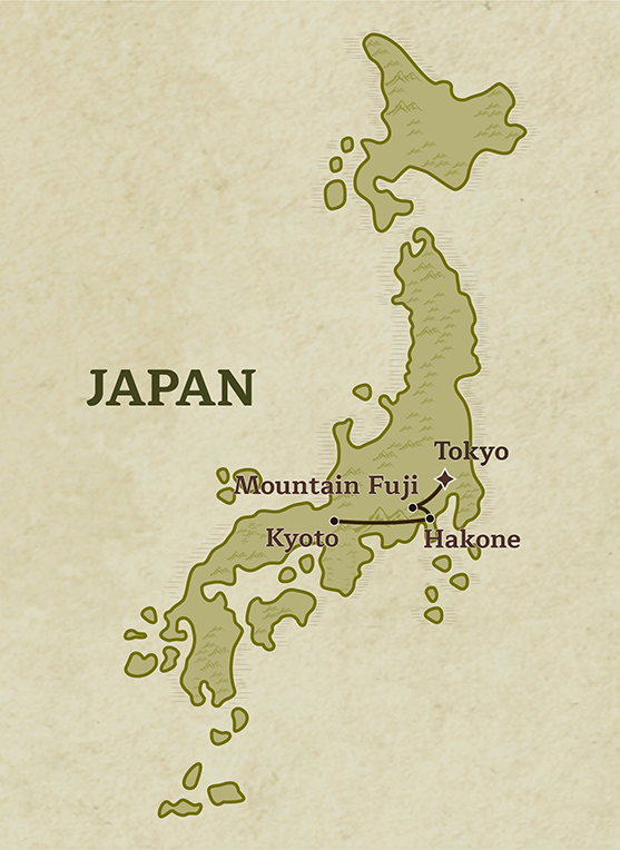 Map of Japan outlining the Experience Wellness in Japan tour exploring Tokyo, Mt Fuji, Hakone and Kyoto with Trails of Indochina