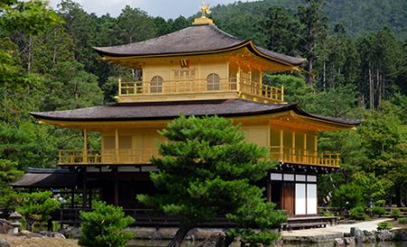 Kinkakuji Temple known as the Golden Pavilion, Kyoto, Japan