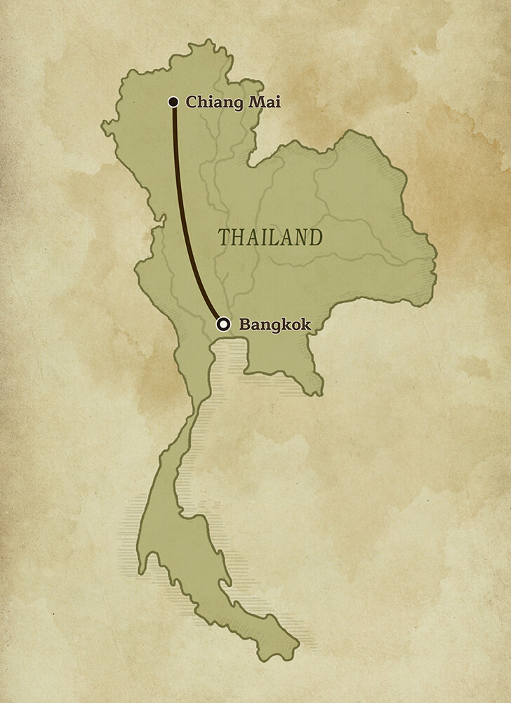 Map of Thailand, Discover Thai Artistic Heritage Tour