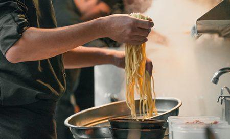 Chefs making ramen noodles in Japan