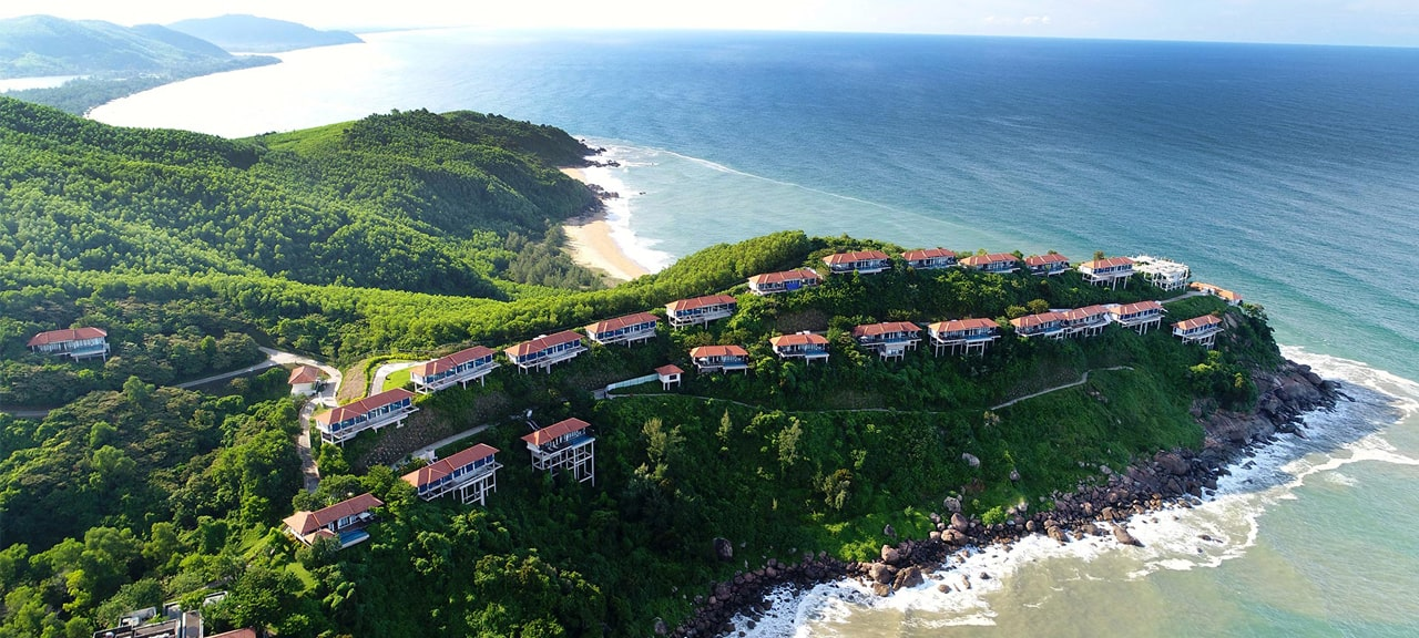 Aerial View of the Banyan Tree Lang Co Resort sitting on the peninsula along the coast line