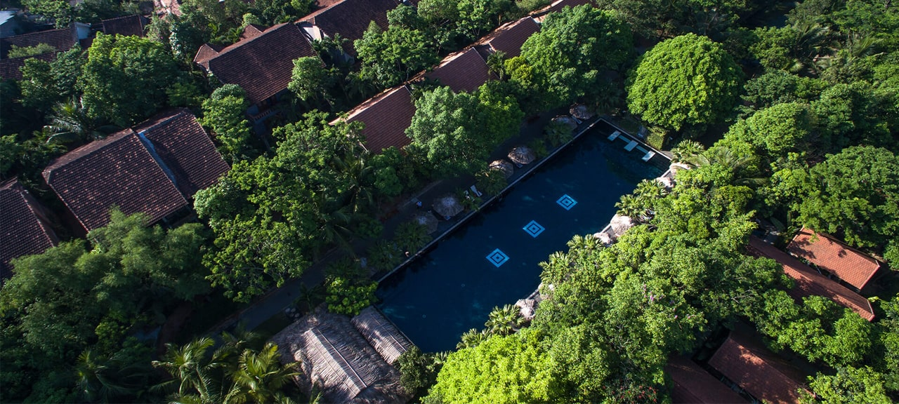 Aerial View of the resort pool and gardens at the Pilgrimage Village Resort